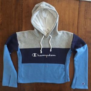 CHAMPION CROPPED HOODED COLORBLOCK SWEATSHIRT BLUE